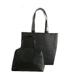 1853d8398231 good quality 2 Pcs 1 Set Women s Crocodile Pattern Black Composite Bag  Luxury Handbags Women Bags Designer Large Capacity Shoulder Bag