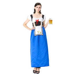 94fb2e8f86ba Blue German Oktoberfest Sexy Maid Costume Bavarian Beer Girl Fancy Dress  Halloween Carnival Games Plus Size Costumes For Women