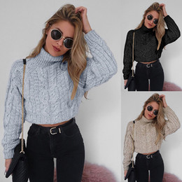 Ladies sexy Long sweaters online shopping - Hot Sale Autumn Winter Women Clothing Turtle Neck Long Sleeve Shirts Tops Lady Fashion Knitted Sexy Navel exposed Sweaters
