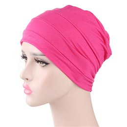 Solid Color Scarves Wholesale Australia - Women Turban Hat Solid Color India Muslim Ruffle Chemo Hat Beanie Scarf Head Wrap Elastic Stretchy Cap