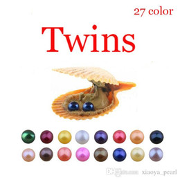 $enCountryForm.capitalKeyWord Australia - 2019 DIY Red shell Akoya 6-7mm 27Colors Seawater Round Twins Pearl Oyster For DIY Making Necklace Bracele Earrings Ring Jewelry Gift