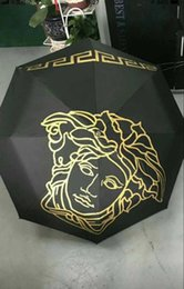 Vintage umbrella black online shopping - Brand Design Medusa Black Metal Umbrella Umbrella Classic Women AutomaticLuxury Vintage logo Umbrellas With Gift Box