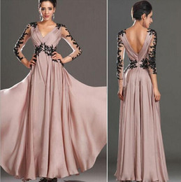 blush lace evening dresses Australia - Wholesale - hot fashion evening dress Sexy Deep V-neck Long Sleeve Blush Pink Dress Applique Lace Prom Cocktail Party Dress