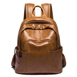 $enCountryForm.capitalKeyWord NZ - Johnature 2019 New Zipper Solid Arcuate Shoulder Strap Open Pocket Softback Thread Soft Handle Vintage Women Backpack