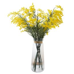 flowers free UK - 5 Pcs Australia Acacia Yellow Mimosa Pudica Spray Silk Flower Artificial Flower Wedding Flower Party Event Decor Free Shipping T8190626