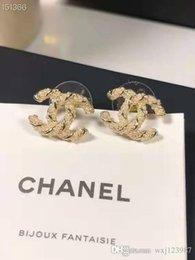 Wholesale-and American classic letters millet bead stud S925 sterling silver needle fashionable temperament earrings on Sale