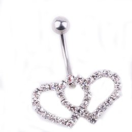 Double belly rings online shopping - 0335 colors Belly Button Rings Body Piercing Jewelry double heart clear colors Dangle Accessories Fashion Double Love Gift