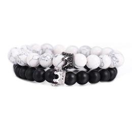$enCountryForm.capitalKeyWord Australia - Cheap Black White Stone Beads Crown Bracelet For Women Men Couple Bracelets Bangles Jewelry Lover Gift