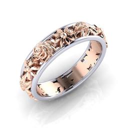 $enCountryForm.capitalKeyWord Australia - Contrast Color Rose Gold Flower designer Ring Band Rings for Women Christmas Gift wedding desingers rings drop shipping
