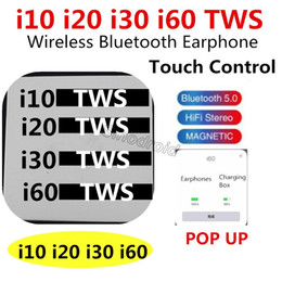 SmartphoneS blackberry online shopping - i10 i20 i30 i60 TWS Wireless Bluetooth Earphones POP UP Function With Free Anti lost Rope Stereo Earbuds For Smartphones i10 i20 i30 i60