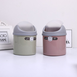 wholesale baskets lids NZ - Factory direct desktop mini trash can household coffee table small paper basket creative office desk with lid trash box