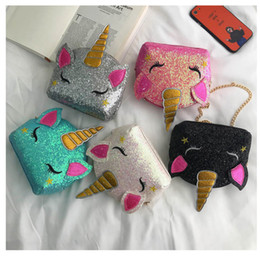 Pink cute wallet online shopping - Glitter Unicorn Chain Bags Kids Cartoon Crossbody Shoulder Bags Boys Girls Fanny Pack Waist Bag Cute INS Coin Purse Wallet Pouches B71701
