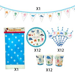 party supplies banners Canada - 38Pcs for 12kids Sea Life Sea World Marine Animal Theme Birthday Party Supplies Tableware Set Plate Straw Cup Tablecover Banner