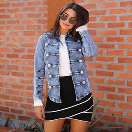 $enCountryForm.capitalKeyWord NZ - Women Basic Style Cowboy Long Sleeve Double Row Button Denim Jacket Jean Blouse Female Jeans Coat Casual Girls Outwear laides