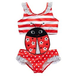 $enCountryForm.capitalKeyWord Australia - Newborn Baby Girls Bathing Suit Ladybug Embroidery Children Girls One Piece Patchwork Summer Girls Swimming Wear Banadore