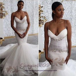$enCountryForm.capitalKeyWord Australia - Steven Khalil 2019 Luxury sweep Train Mermaid Wedding Dresses spaghetti Middle East African Plus Size lace beaded Wedding Gowns customized