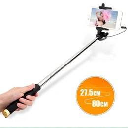 phone handle stick NZ - Fashion Portable Extendable Monopod Self-pole Handheld Wired Selfie Stick For Iphone Samsung Mobile Phones Non-slip Handle