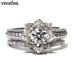 $enCountryForm.capitalKeyWord NZ - Vecalon Flower Promise ring set 925 sterling silver Diamond Engagement wedding Band rings for women men Vintage Finger Jewelry