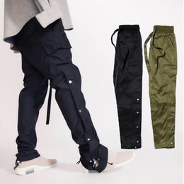 Wholesale Fear Of God New Pants Ankle Zip Buttons Side Casual Sweatpants Kanye West Hip Hop Bottoms Men Black Army Green Cargo Track Pants MQI0506