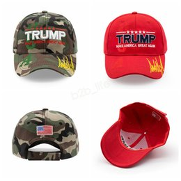 BaseBall cap letters online shopping - Donald Trump Baseball Cap embroideried Make America Great Again hat camouflage USA Flag outdoor letter sports cap LJJA2908