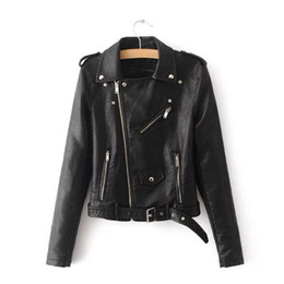 Wholesale 2019 Women Fashion Bright Colors Female Black Motorcycle Coat Short Faux Leather Biker Jacket Soft Jacket
