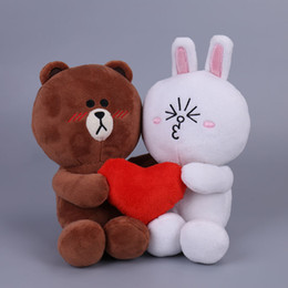 Toys For Males Females Australia - 2pcs pair Brown Bunny Cony Dolls With Heart Wedding Gift Male Bear Female Rabbit Plush Toys For Bride And Groom Q190521