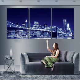 City Canvas Prints NZ - HD Print Framework Canvas Modular Picture 3 Panel Light Bright Beautiful City Night Paintings Wall Art Poster For Living Room Decor