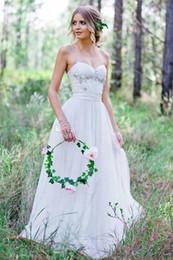 Purple Wedding Dresses Pictures Australia - Modest Spaghetti Bohemian Wedding Dresses 2019 Beadings A-Line Simple Full length Lace Country Beach Bridal Wedding Dress