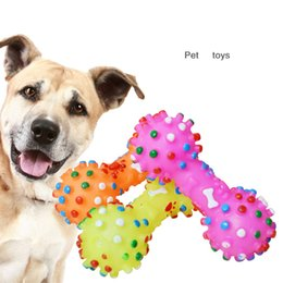 toy dumbbells 2020 - New Arrive Dog Toys Colorful Dotted Dumbbell Shaped Dog Toys Squeeze Squeaky Faux Bone Pet Chew Toys For Dogs