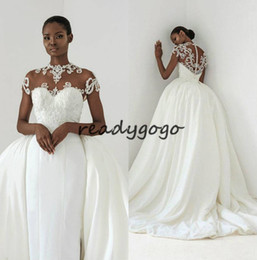 $enCountryForm.capitalKeyWord Australia - African Mermaid Wedding Dresses With Overskirts Jewel Neck Cap Sleeve Lace Bridal Gowns Vestidos Dubai Beach Wedding Dress Plus Size