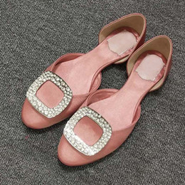 Best Nude Flats Canada - Fashionable lights best new womens crystal shoes open style ladies women flats shoes Silk Satin square buckle sandal with diamond 20 colors