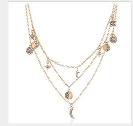 Black moon tattoo online shopping - European and American fashion multi layer diamond inlaid long necklace with moon star chain tattoo