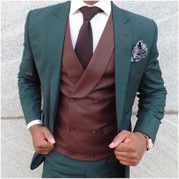 $enCountryForm.capitalKeyWord Australia - Custom Made Latest Coat dark Green Men Suit Tuxedo Slim Fit Skinny wedding mens suits 2018 (Jacket+Pants+Double Breasted Vest)