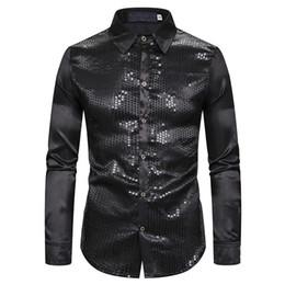 Silk tuxedoS online shopping - Black Silk Satin Shirt Men Fashion Sequins Nightclub Mens Dress Shirts Slim Fit Long Sleeve Wedding Tuxedo Chemise