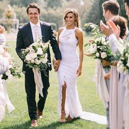 Full length mermaid wedding dresses online shopping - Elegant Full Lace Beach Wedding Dresses High Neck Front Split Long Summer Bohemian Bridal Gown Custom Size