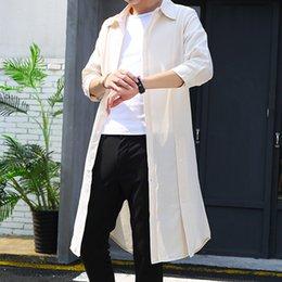 Cotton Trench Australia - Men's Slim Fit Long Coats Nightclub Hairstylist Linen Cotton Trench