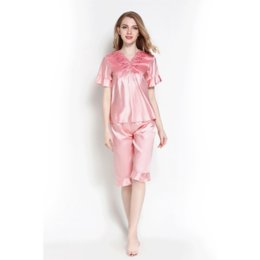Pretty lingerie online shopping - Autumn Silk Pajamas Sets Pretty Pyjamas Women Sleep Sexy Wear Tops And Shorts Female Satin Lingerie Home Suit Cute Pijama Mujer