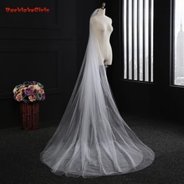 Cheap voile online shopping - Cheap Long Cathedral Bridal Veil with Comb Two Layer Meters Wedding veils Cut Edge Weddings Accessories Voile de Mariage