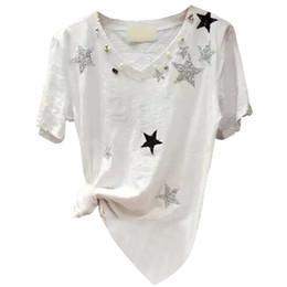 $enCountryForm.capitalKeyWord Australia - 2018 Summer And Autumn New Short-sleeved T-shirt Female V-neck Loose Bamboo Sweis Cotton Wild Shirt Shirt Tide Y19061001
