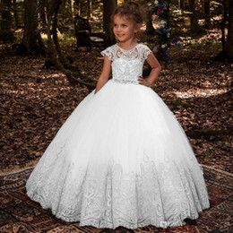 T shirT dress for Toddler online shopping - Lovey Lace Princess Flower Girl Dresses Ball Gown First Communion Dresses For Girls Sleeveless Tulle Toddler Pageant Dresses BC1831