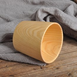 $enCountryForm.capitalKeyWord Australia - 6pcs Wooden Cup Log Color Handmade Natural Wood Coffee Tea Beer Juice Milk Mug Figure Fir Simple
