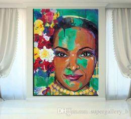 $enCountryForm.capitalKeyWord Australia - Beautiful Balerina African American Woman portrait Handpainted Graffiti Art oil painting Wall Art Home Decor On High Quality Canvas p218