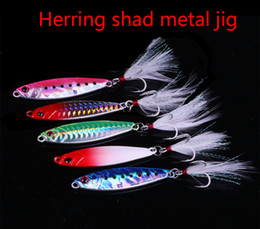 Jigs Lures For Fishing Australia - 15-40g Herring Shad Laser Metal Jig Slow Jigging Lure Sinking Jigs Wobbles Fishing Lure Feather Hook Bass Lead Fish Fishing Baits for carp