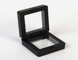 $enCountryForm.capitalKeyWord Australia - 50*50mm Transparent Floating Display Case Earring Gems Ring Jewelry Suspension Packaging Box PET Membrane Stand Holder
