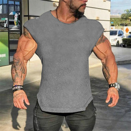 $enCountryForm.capitalKeyWord Australia - Tank Top Mens Sleeveless T shirts Summer Cotton Slim Fit Men Clothing Bodybuilding Undershirt Golds Fitness tops tees