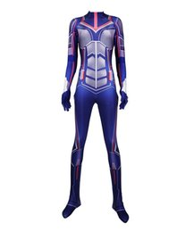 $enCountryForm.capitalKeyWord Australia - Women Girl Blue Ant 3D Cosplay Costume Superhero Lycar Spandex High Quality Zentai Bodysuit Sexy Catsuit Jumpsuit