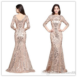 $enCountryForm.capitalKeyWord Australia - 2019 Elegant Rose Gold Mermaid Sequined Lace Evening Dresses Jewel Neck Half Sleeves Cheap Mother Formal Wear Gowns Robe de Soiree