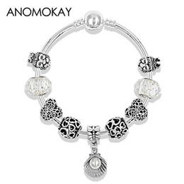 $enCountryForm.capitalKeyWord Australia - Tibetan 925 Silver Shell Pendant Fashion Bead Bracelet Heart Lion Diy Charm Pandora Bracelet & Bangle for Women Wedding Jewelry
