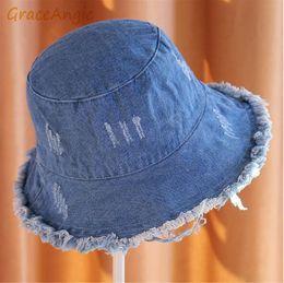 ladies bucket sun hats 2019 - GraceAngie 1pc Ladies travel tassels Flat hat Bucket Hats sanding summer solid color women fisherman hat sun cloth foldi