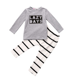 $enCountryForm.capitalKeyWord Australia - Children Autumn Baby Set Newborn Toddler Kids Baby Boys Girls Outfits Lazy Bay T-shirt Tops+Striped Pants 2PCS Clothes Baby Set